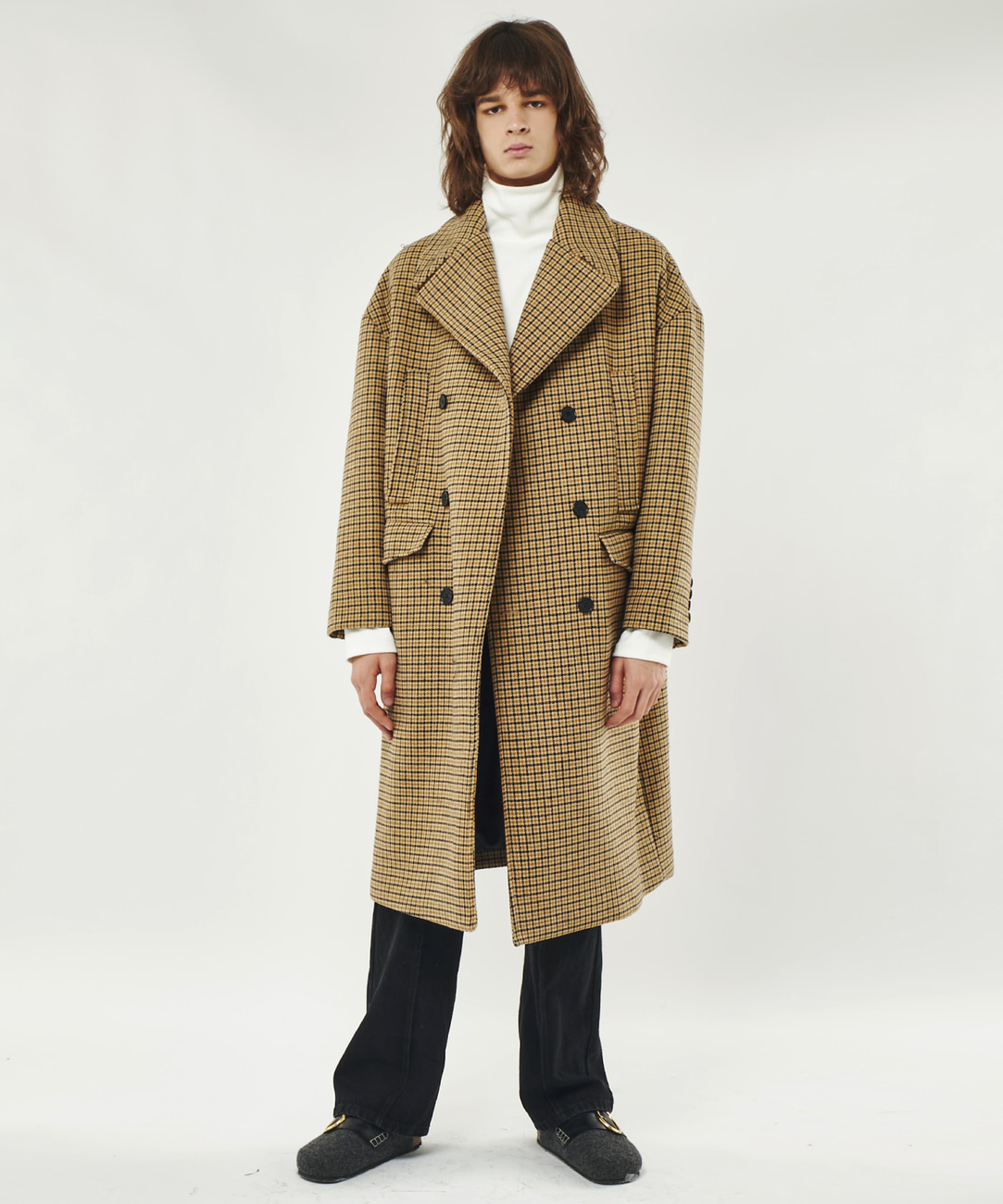 DWS OVER-FIT WOOL DOUBLE COAT(BROWN CHECK)